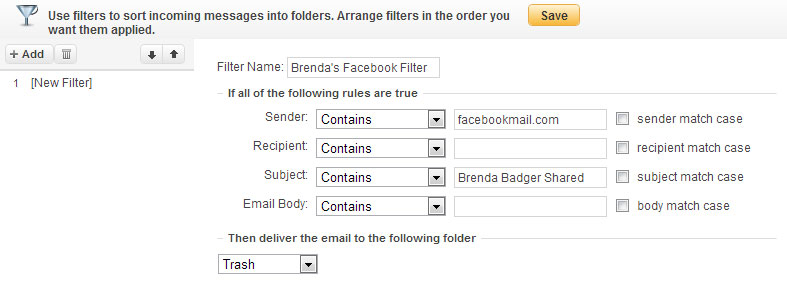 Yahoo! Mail Filter Fields